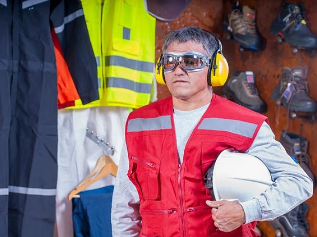 Industrial worker wearing hearing protection