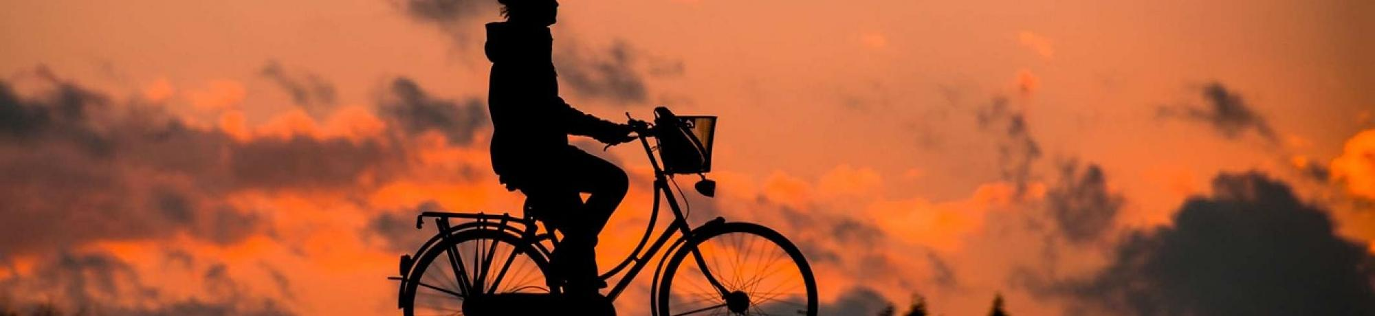 Silhouette of person riding bicycle at sunset